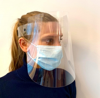 Certified face shield with Klettostar® hook and loop fastener